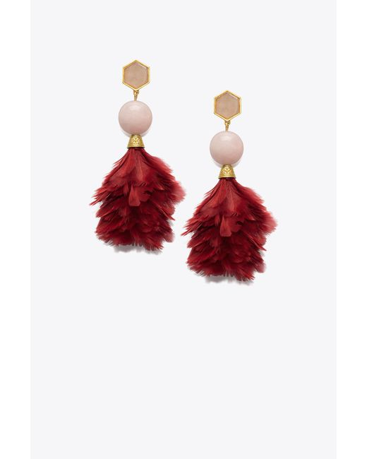 Tory Burch | Red Feather Drop Earring | Lyst
