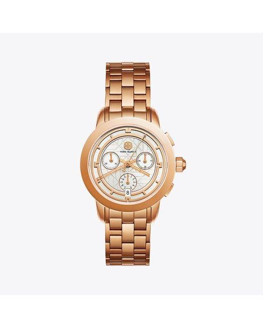 Tory Burch | Metallic Tory Watch, Rose Gold-tone/ivory Chronograph, 37mm | Lyst