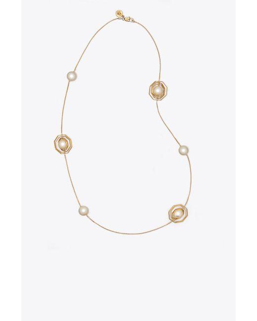 Tory Burch - Metallic Geo Pearl Rosary - Lyst