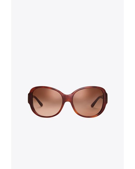 Tory Burch - Brown Stacked-t Square Sunglasses - Lyst