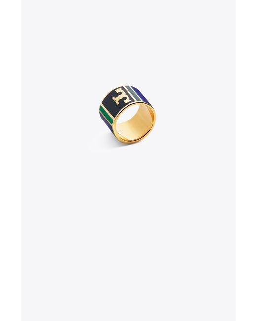 Tory Burch | Metallic Geo Striped Ring | Lyst