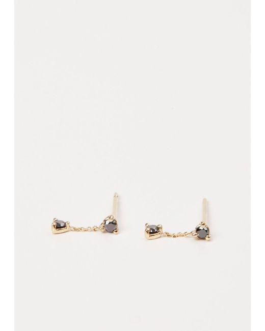 Wwake - Metallic Yellow Gold / Black Diamond Small Two-step Chain Earrings - Lyst