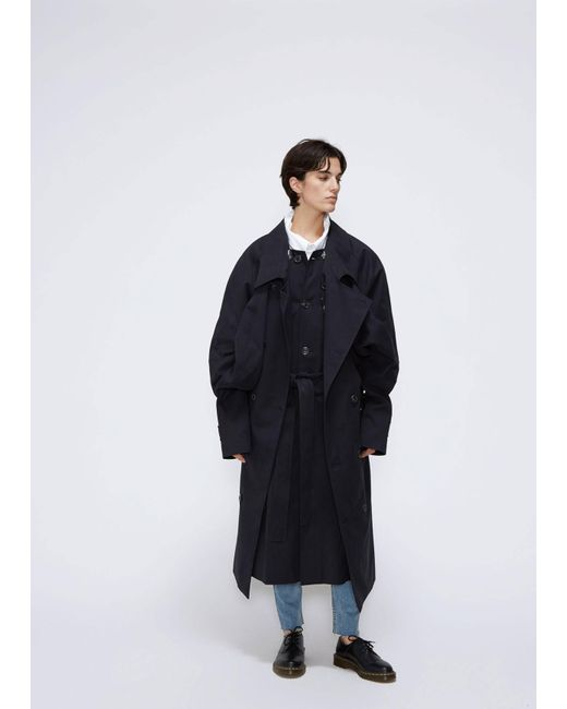 Y. Project - Black Double Front Trench Coat - Lyst