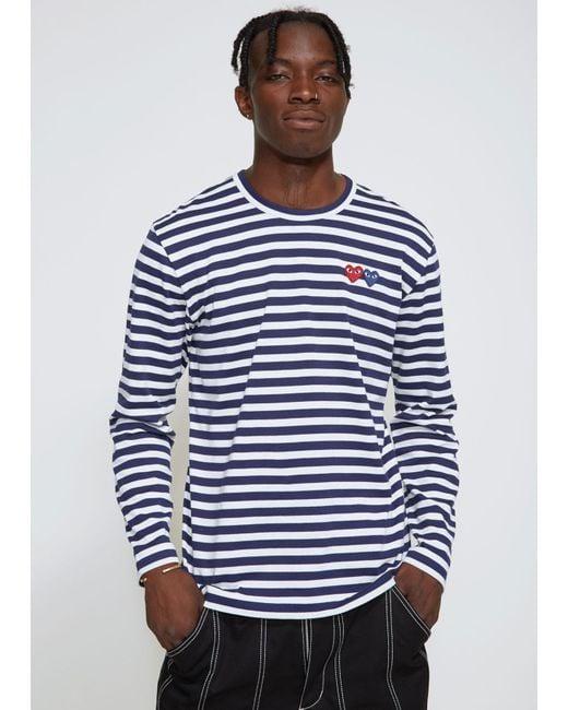 2fb05f4f8 COMME DES GARÇONS PLAY - Blue Long Sleeve Double Heart T-shirt for Men ...