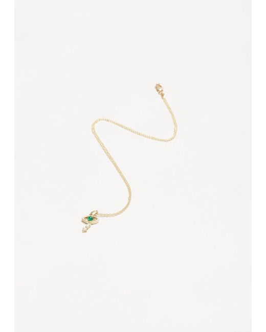 Ileana Makri - Metallic Tiny Baguette Eye Pendant - Lyst
