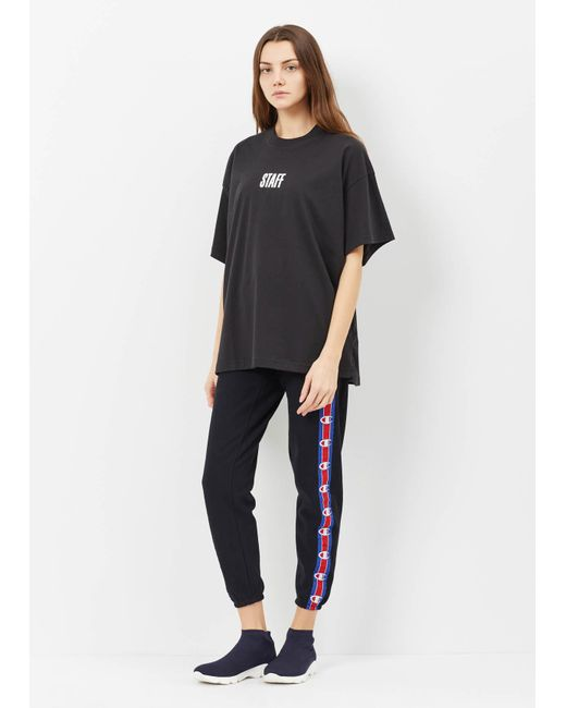 Vetements Black Champion Sweatpants With Tape In Black