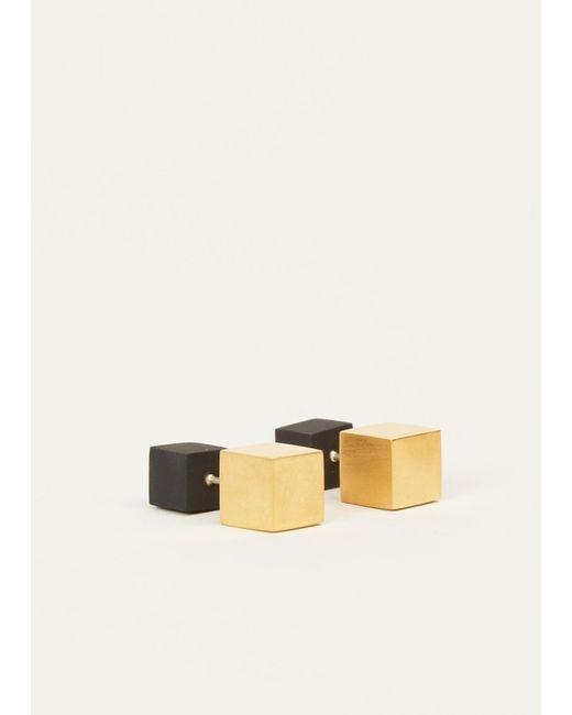 Ming Yu Wang | Metallic Matte Black / Gold Plated Brass Eclipse Earrings | Lyst