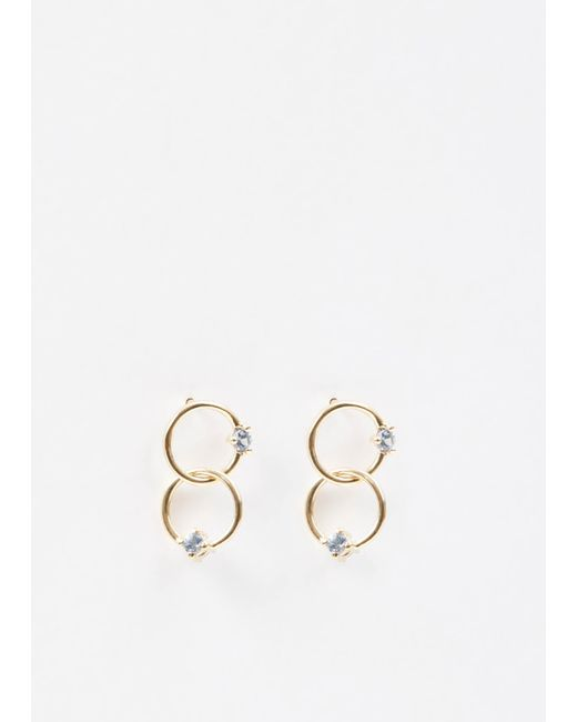 Wwake | Metallic 14k Gold / Sapphires Double Circle Sapphire Earrings | Lyst
