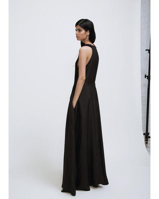 Yang Li | Black Front Pleated Panel Long Dress | Lyst