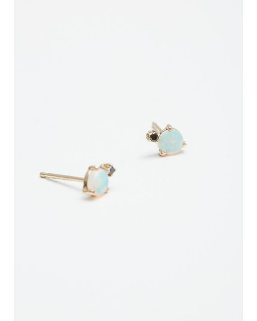 Wwake - Metallic Classic Opal And Diamond Earrings - Lyst