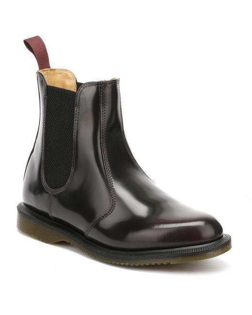 Dr. Martens Black Dr. Martens Flora Arcadia Womens Burgundy Leather Boots