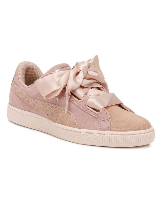 PUMA - Pink Womens Peach / Pearl Heart Pebble Suede Trainers - Lyst