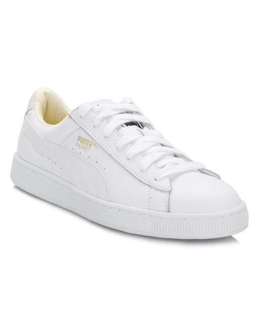 a994e9ca451 Lyst - PUMA Mens White Basket Classic Leather Trainers in White for Men