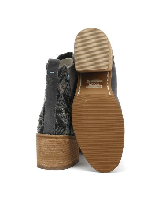 c4ef55e13bd ... TOMS - Gray Esme Womens Grey Jacquard Suede Boots - Lyst ...