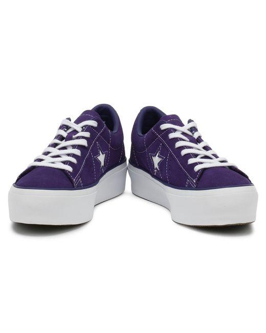2ca7d2f52c5 Lyst - Converse One Star Womens Purple Platform Trainers in Purple