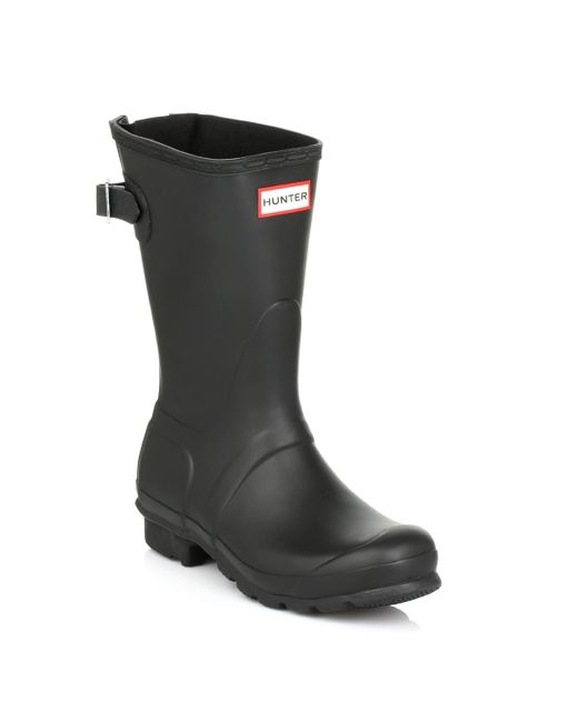 Hunter | Original Short Black Back Adjust Wellington Boots | Lyst