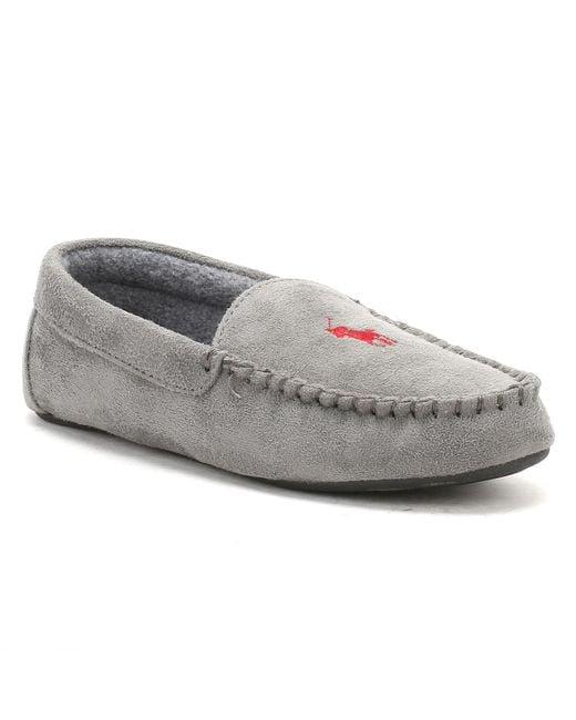 Ralph Lauren | Gray Mens Grey / Burgundy Dezi Ii Moccasin Slippers for Men | Lyst