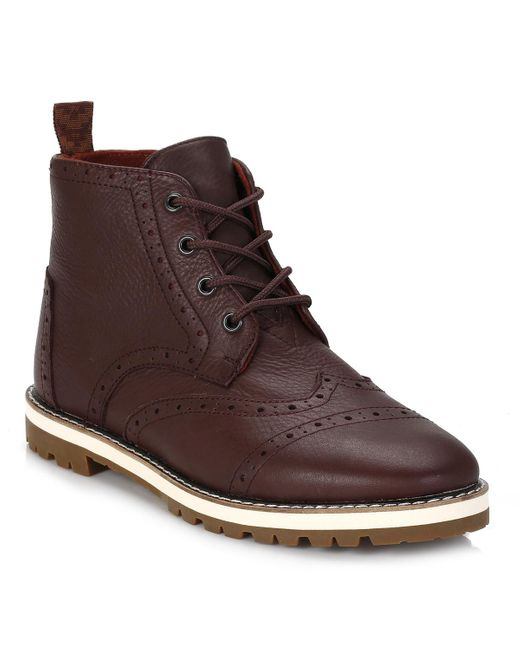 TOMS | Mens Dark Brown Brogue Leather Boots for Men | Lyst