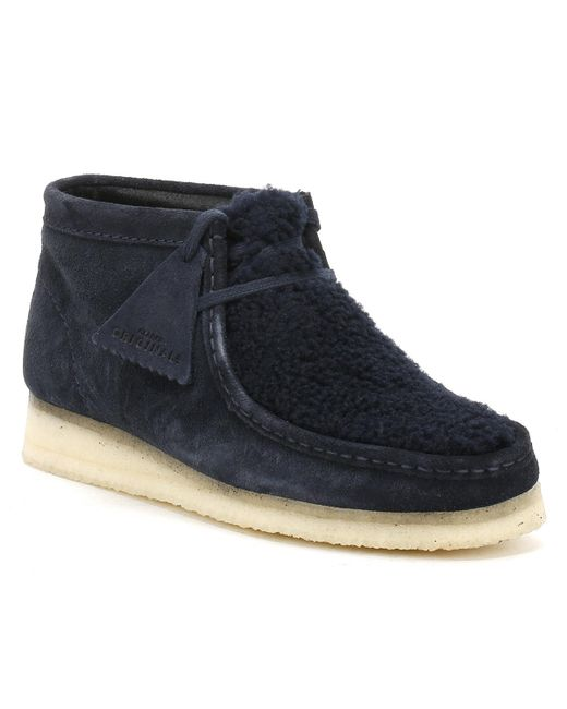 Clarks - Blue Womens Navy Suede Wallabee Boots - Lyst