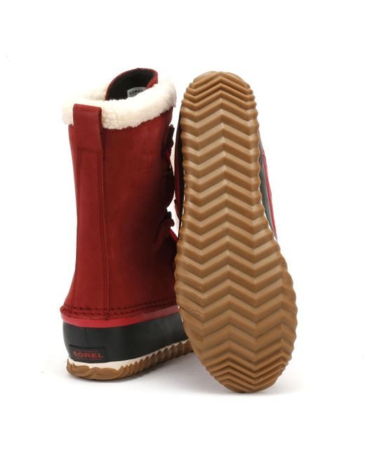 4ad0994deca ... Sorel - Womens Red Element   Black Caribou Slim Boots Women s Snow  Boots In Red ...