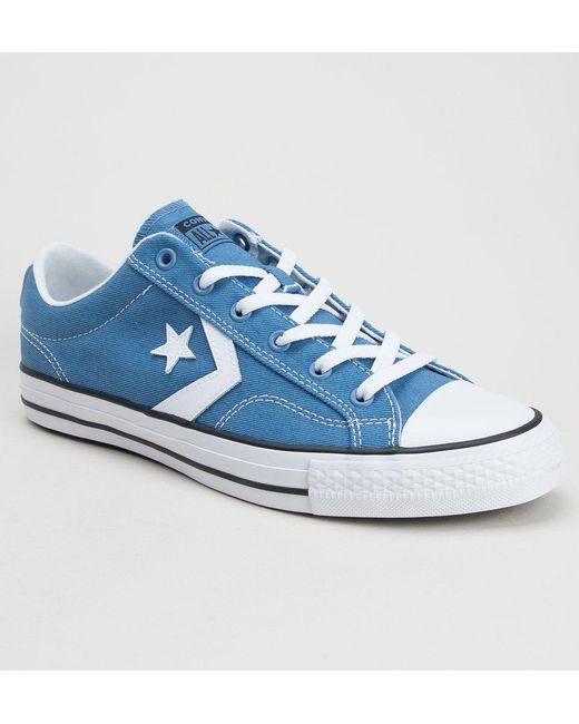 Converse - Blue 160556c Star Player Ox Aegean Storm-white-black Trainers  for Men ... 59e2a7a5706
