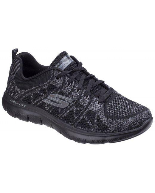 Skechers - Flex Appeal 2.0 - New Gem Black/charcoal Trainers - Lyst