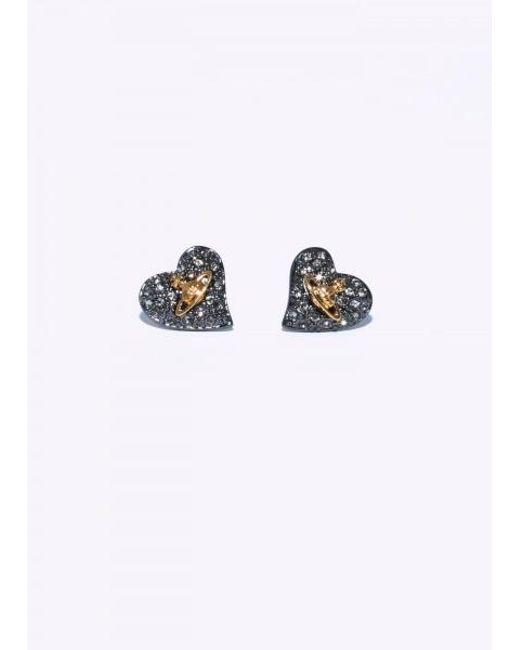 Vivienne Westwood - Multicolor Tiny Diamante Heart Studs - Lyst