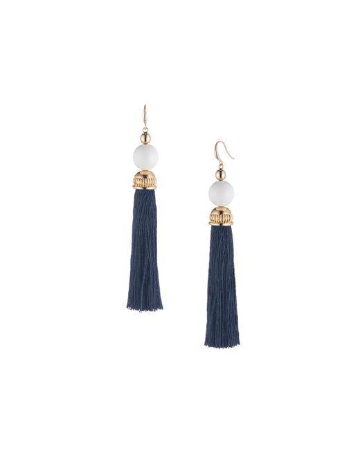 Trina Turk - Blue Beads In Bloom Tassel Earring - Lyst