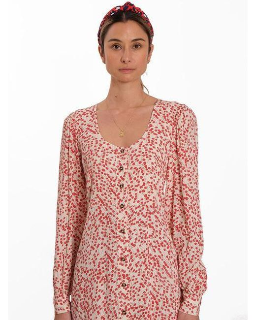 9e10aa61 ... Ganni - Pink Crepe Floral Maxi Dress - Lyst ...