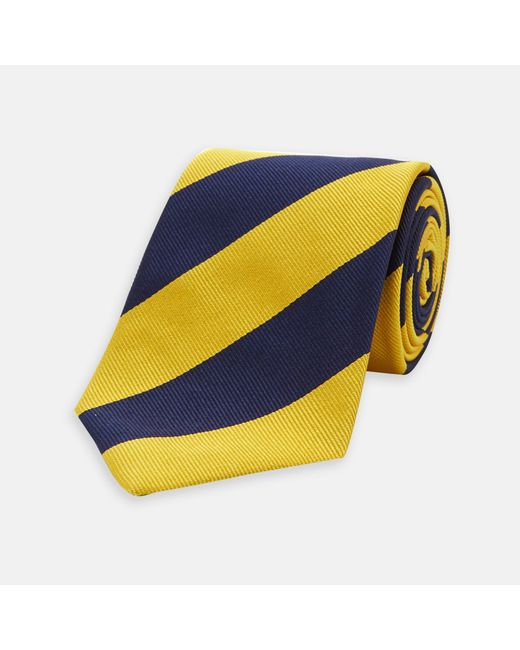 Turnbull & Asser - Blue Navy And Yellow Block Stripe Repp Silk Tie for Men - Lyst