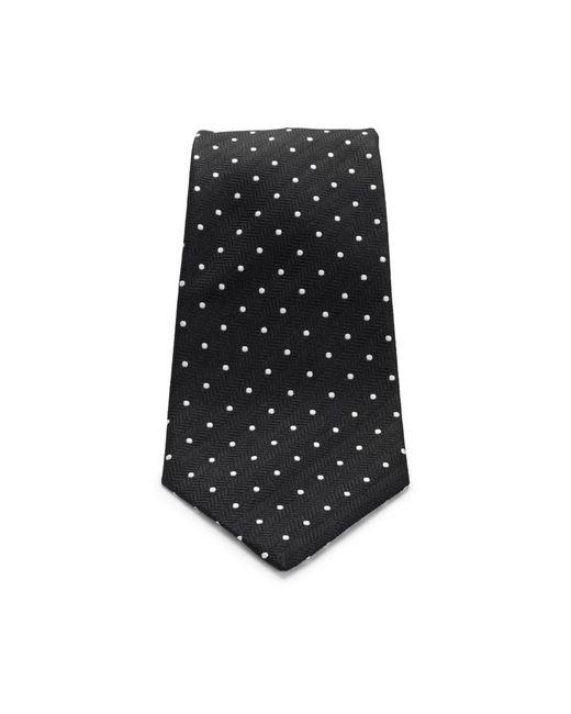 Turnbull & Asser - Slim Black And White Small Spot Herringbone Silk Tie for Men - Lyst