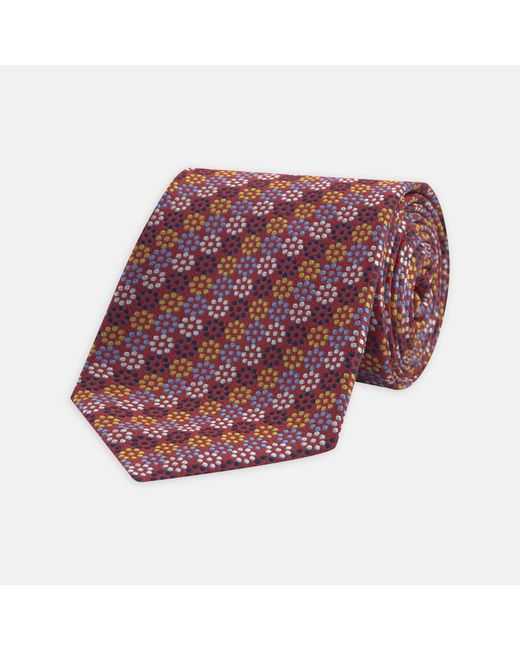 Turnbull & Asser - Blue, Yellow And Red Dotted Floral Silk Tie for Men - Lyst