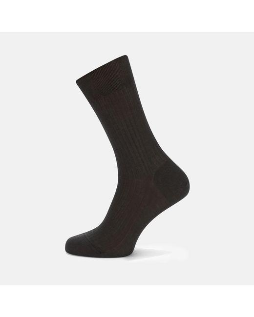 Turnbull & Asser - Black Dark Grey Short Pure Cotton Socks for Men - Lyst