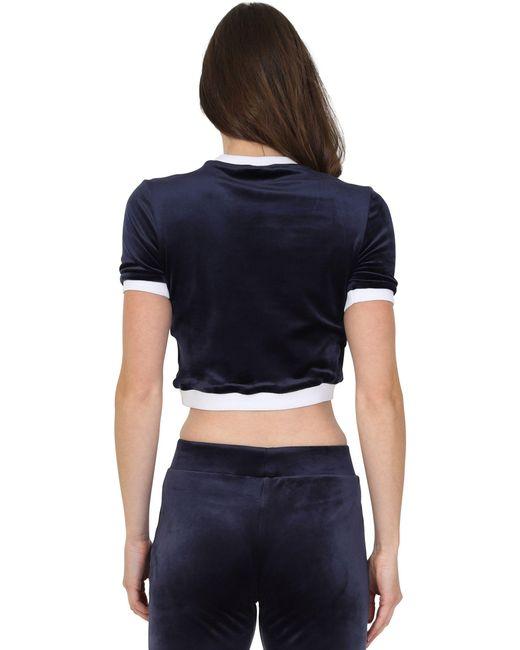1502f39526 ... Fila - Blue Emiliana Velour Cropped T-shirt - Lyst ...