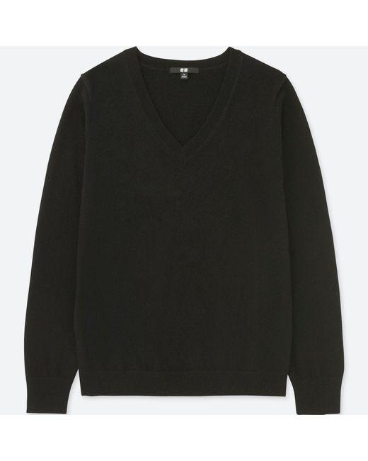 Uniqlo - Black Women Cashmere V-neck Sweater - Lyst