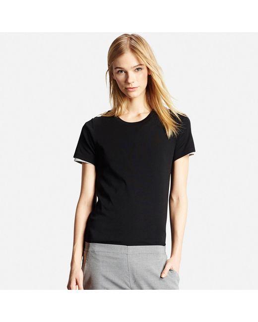 Uniqlo   Black Women Supima® Cotton Crew Neck T-shirt   Lyst