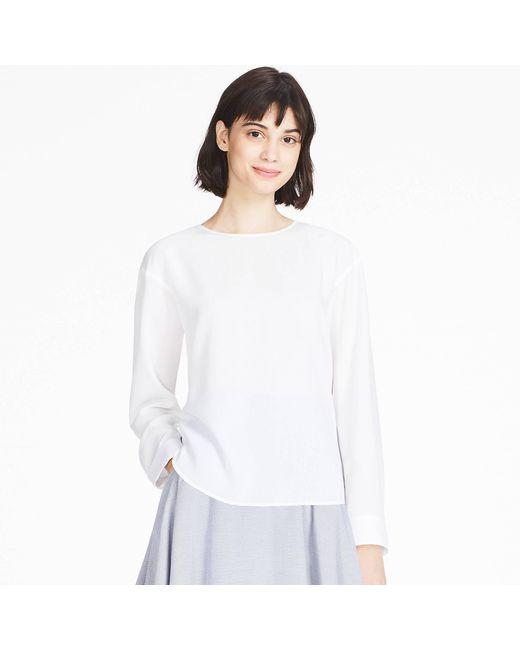 Uniqlo | White Women Rayon Long-sleeve T-shirt Blouse | Lyst