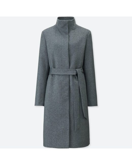 Uniqlo | Gray Women Cashmere Blended Stand Collar Coat | Lyst