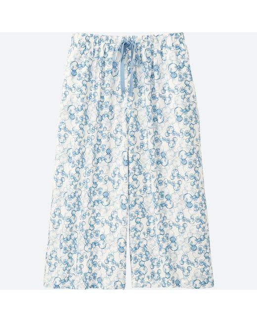Uniqlo | White Women Mickey Blue Relaco 3/4 Shorts (wide) | Lyst