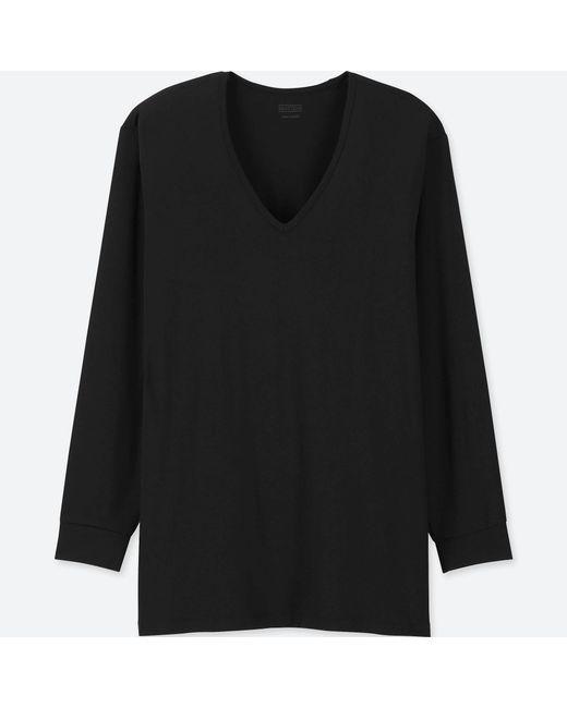 c3436f065 Lyst - Uniqlo Men Heattech V-neck Long-sleeve T-shirt in Black for Men