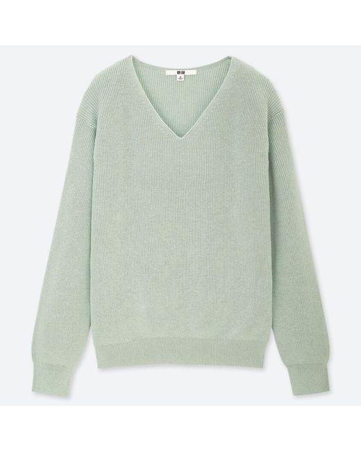 Uniqlo - Green Women Cotton Cashmere V-neck Sweater - Lyst
