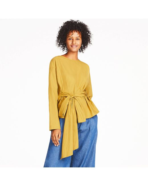 Uniqlo   Yellow Women Extra Fine Cotton Cache-coeur Long-sleeve Blouse   Lyst