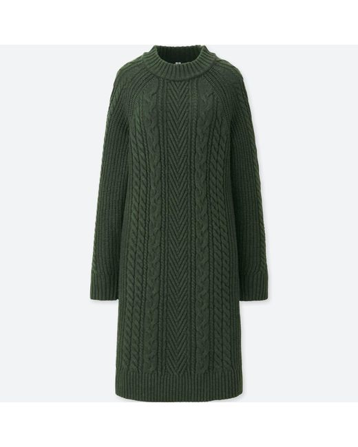Uniqlo - Green Women Cable Knit Long-sleeve Dress - Lyst