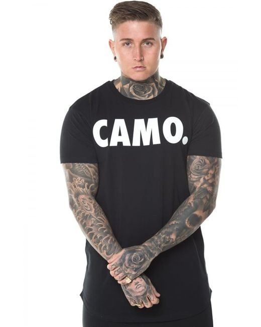 CAMO - Black Curved Hem T-shirt for Men - Lyst