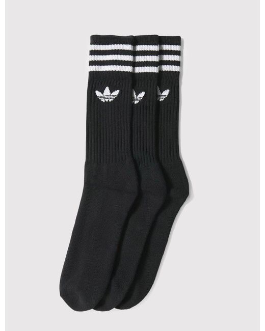 Adidas Originals - Black Adidas Solid Crew Socks for Men - Lyst