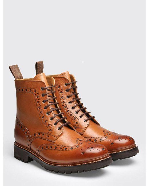 GRENSON - Brown Fred Commando Sole Boot - Lyst