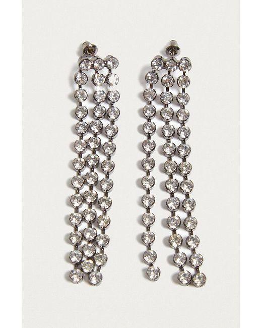 Urban Outfitters   Metallic Chunky Rhinestone Tassel Drop Earrings   Lyst