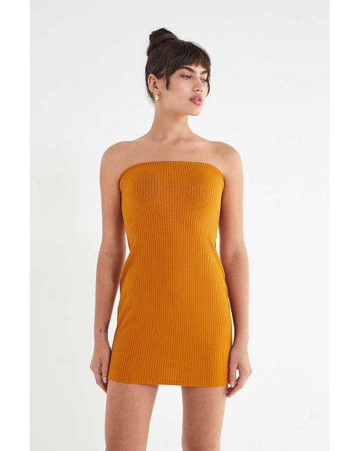Urban Outfitters - Yellow Uo Heather Ribbed Knit Tube Dress - Lyst