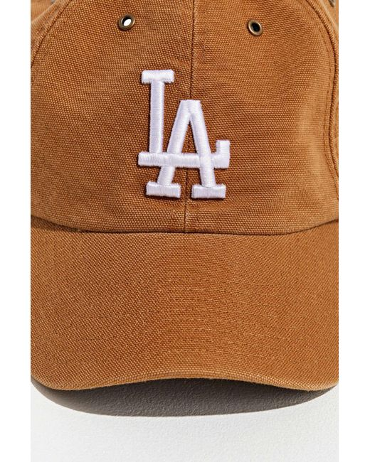 571d2122 47 Brand X Carhartt Los Angeles Dodgers Dad Baseball Hat in Brown ...