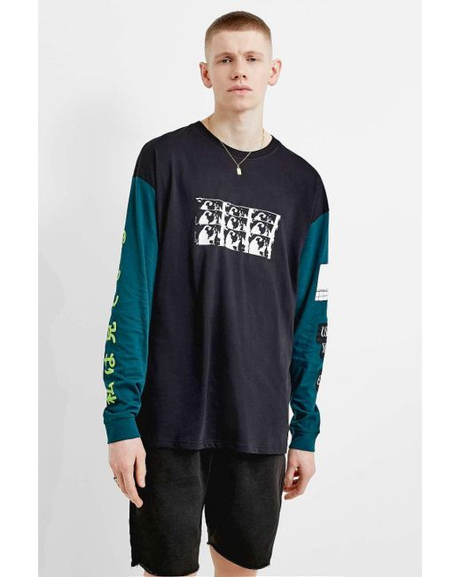 db56606e11733d ... Urban Outfitters - Black Uo Cut And Sew Allover Skate Print Long-sleeve  T- ...
